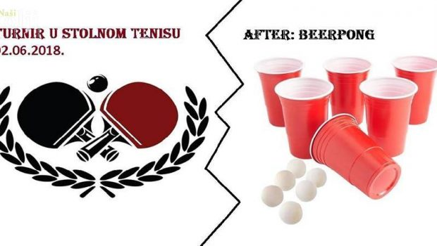 Turnir u stolnom tenisu i after Beer pong