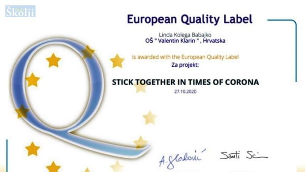Rad učenica OŠ Valentina Klarina nagrađen europskom oznakom kvalitete